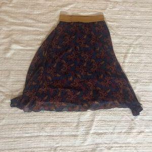 LulaRoe Floral Blue Patterned Maxi Skirt